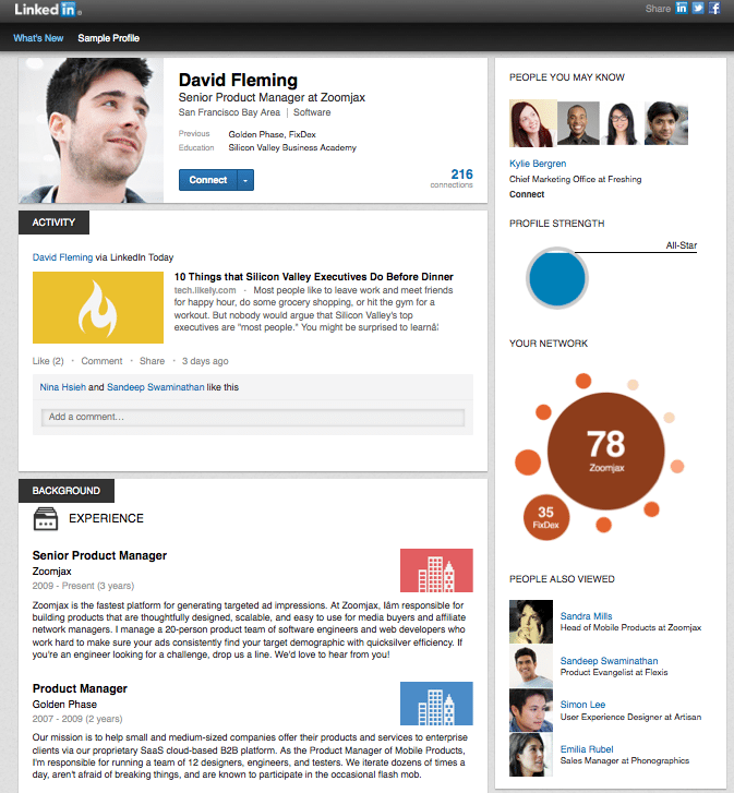 A New Look For Linkedin Profile Pages
