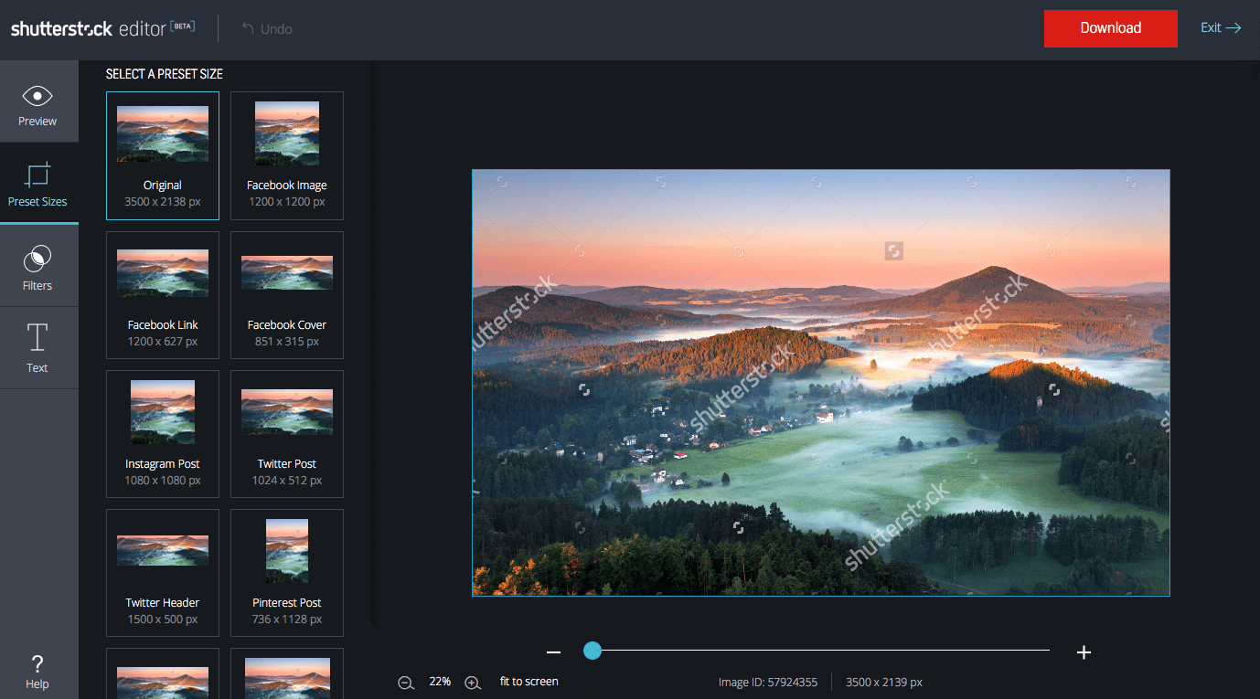 Stock image editing in Shutterstock Editor