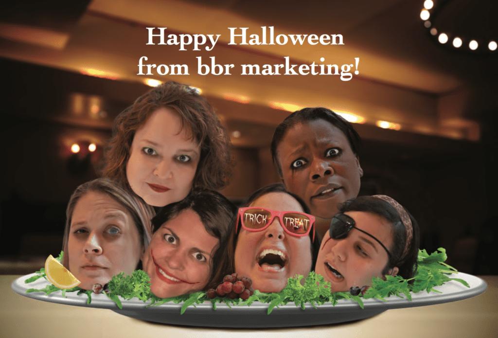 bbr marketing Halloween Card Heads on a Platter